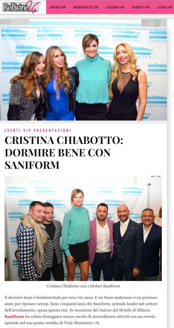 http://www.bollicinevip.com/cristina-chiabotto-dormire-bene-con-saniform/