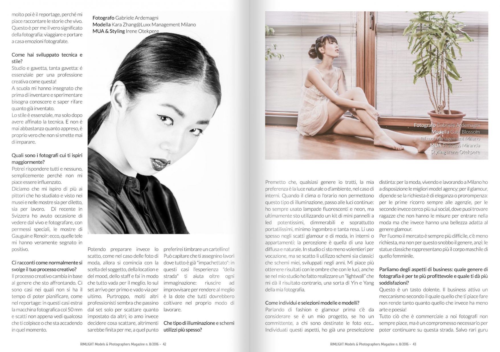 Rimlight Magazine #8 2016 a beautiful interview of me and my work