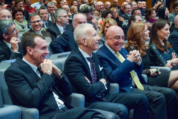Proli Bagatta Galliani alla Festa in Gazzetta dello Sport per gli 80 anni di Dan Peterson Foto di Gabriele Ardemagni