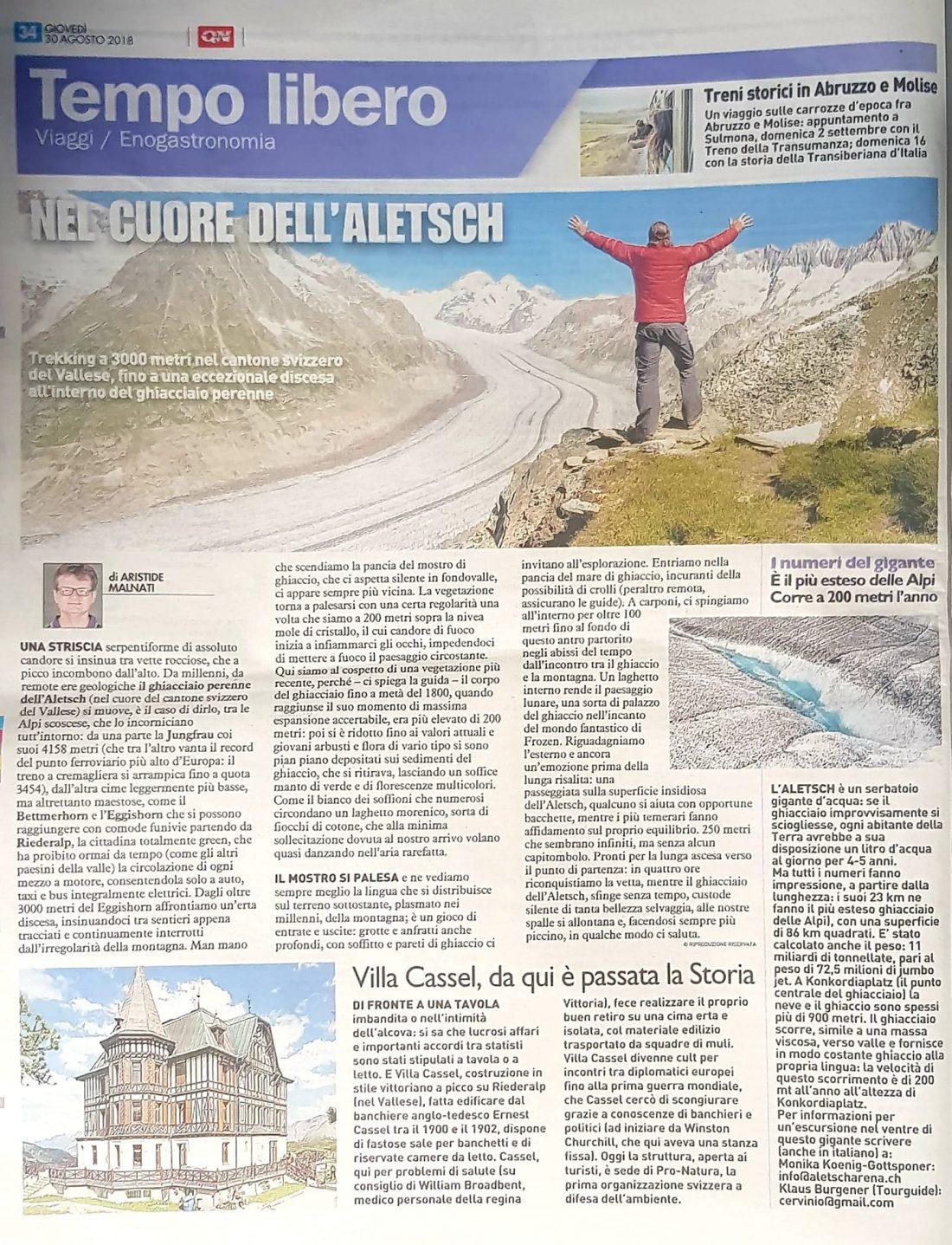 Quotidiano Nazionale Aletsch Vallese Svizzera Gabriele Ardemagni