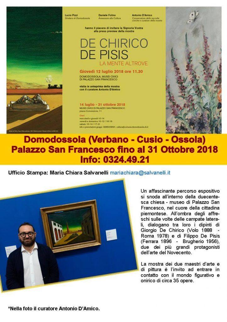 Miraflores Press 107 settembre 2018 mostra De Chirico De Pisis Domodossola gabriele ardemagni