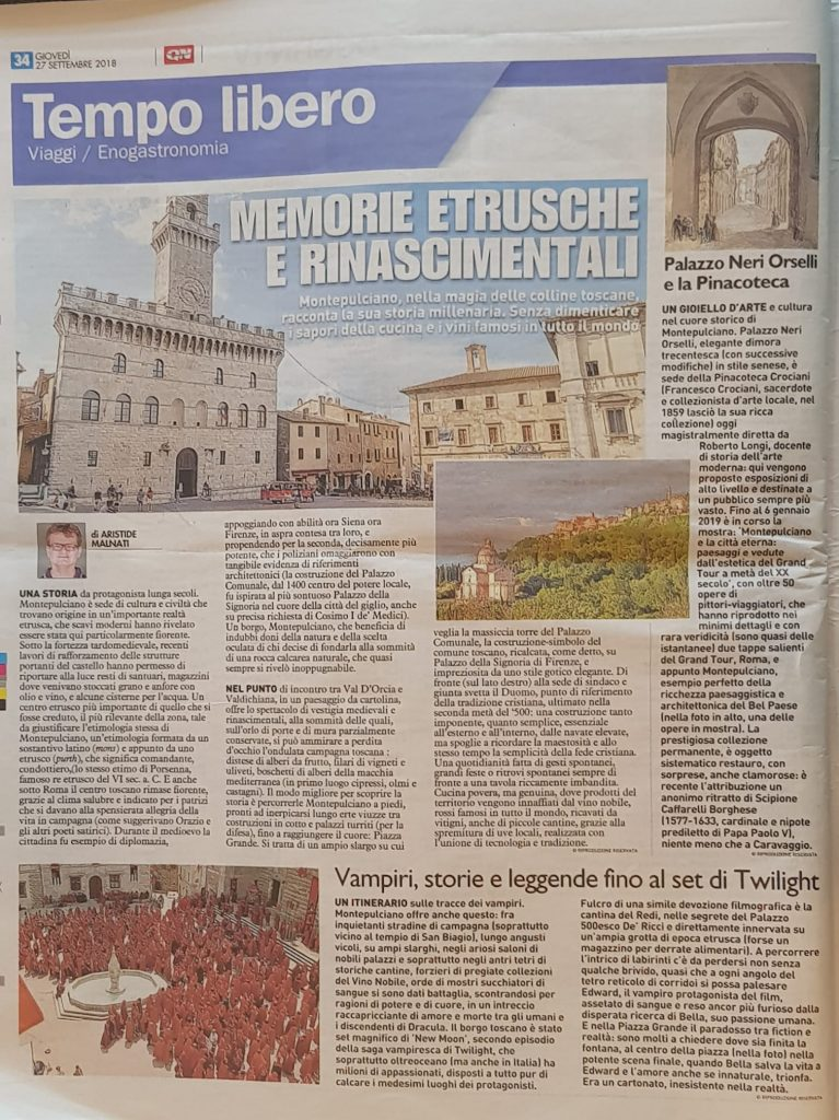 Foto per articolo su Montepulciano di Aristide Mummy Malnati pubblicato sul QN ( Il Giorno, La Nazione, Il resto del Carlino ) del 27/09/2018